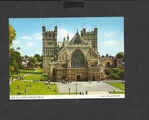 Vintage John Hinde postcard West front Exeter Cathedral Devon unposted