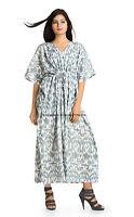 Women's Indian Cotton Gown Sexy Kaftan Maxi Handmade Dress Tunic Bohemian Kaftan