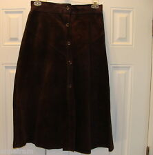 Dark Brown Suede Leather Maxi  Flared Skirt Button Front Size 13 vintage