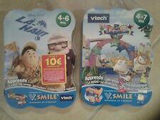 21962 // LOT 2 JEUX V.SMILE VTECH 4/7 ANS ABC LAND ADVENTU + LA HAUT DISNEY NEUF