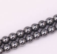 Free Shipping 75pcs Round Black Non-Magnetic Hematite Spacer Beads 6mm
