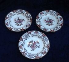 "Antique 19C Wedgwood 10"" Soup Bowls, Camelia 2094 Pattern-Set Of 3"