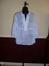 Sigrid Olsen White/Blue Floral Print 3/4 Sleeve Drawstring Waist Shirt - Medium