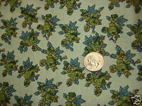 "Vintage Heavy Cotton Fabric SHADES OF GREEN FLORAL/GREEN 30""/44"" Wide"