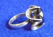 ring Eagle 3 size 7.25 Mexcian Taxco Mexico sterling silver smoky quartz