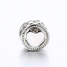 Love Heart Silver White Bling Enamel Spacer Bead For 925 Silver Charms Bracelet