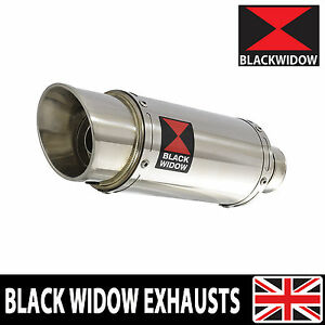 BLACK WIDOW STAINLESS STEEL EXHAUST SILENCER END CAN 200mm ROUND SLIP ON 200SS