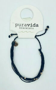 NWT Women's Puravida Black Malibu Bead Bracelet w/Rose Gold