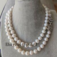 Groß 11-11.5mm weiß Süßwasser perle lange Halskette 90cm