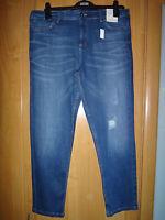 M & S 2 x Indigo Mid Rise Girlfriend Jeans Size 14 regular BNWT