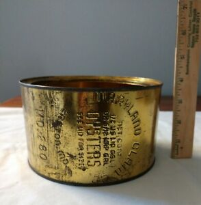 Rare Vintage 1/2 Gallon Oyster Tin Can Maryland Clam Co Easton MD 280