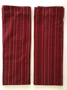 2 Pottery Barn Kids Pick-Stitch Lined Curtain Panels 44x63 Red Blue Striped