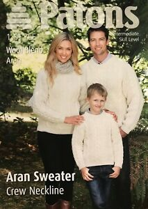 Patons 3916 Aran Knitting Pattern Mens Women Kids Wool Sweater Sizes 4YR to XL