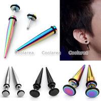 Pair Stainless Steel 16G Long Taper Spike Fake Cheater Ear Stud Plugs Earrings