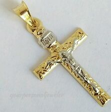 1.35 inch long Religous INRI 14k yellow Gold Jesus Crucifix Cross Pendant 2 tone