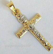 1.35 inch long Religous INRI 14k yellow Gold Jesus Crucifix Cross Pendant 2 tone