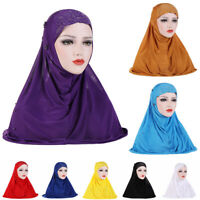 Women Cap Flower Islamic Full Cover Hijab Turban Pearls Muslim Scarf Headscarf