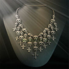 Skull Necklace Crystal Design Pirate Gothic Skeleton Punk Vintage Charm Bib Gift