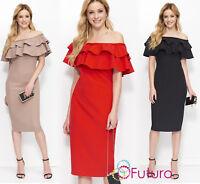Woman Elegant Dress Spanish Style Frills Strapless Midi Pencil Size 6-14 FA603
