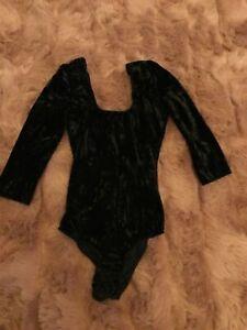Topshop black crushed velvet body top 8