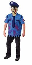 MENS ZOMBIE COP POLICE MAN FANCY DRESS COSTUME HALLOWEEN SCARY OUTFIT MASK MALE