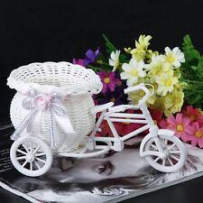 Rattan Tricycle Bike Flower Basket Vase Storage Home Wedding Party Decor-New