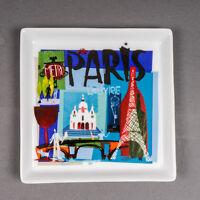 "Crate & Barrel PARIS City Scenes Square Appetizer Plate Tray 5 3/4"" x 5 3/4"""