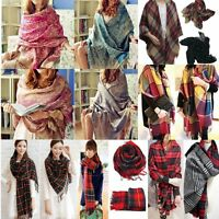 Winter Neck Warm Soft Large Checked Plaid Scarf Tartan Wrap Shawl Stole Pashmina