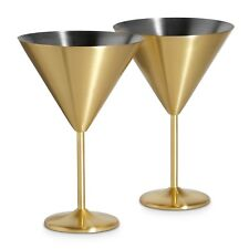 VonShef Set of 2 Stainless Steel 16oz Brushed Gold Martini Cocktail Glasses