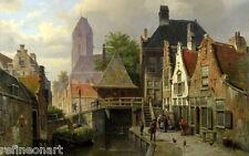 Willem Koekkoek View of Oudewater (c 1867) Giclee Canvas Print