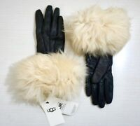 UGG Women's Toscana Shearling Black Leather Smart Tech Gloves Chestnut Shearling