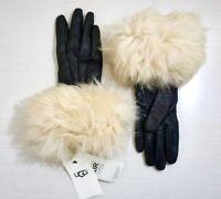 UGG Women's Toscana Shearling Black Leather Smart Tech Gloves Chestnut Shearling