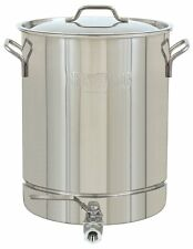 Bayou Classic 1040 Stainless 10 Gallon Stockpot With Spigot and Vented Lid