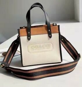 Used Coach C3461 Field Tote 22 In Colorblock With Coach Badge B4/CHALK MULTI