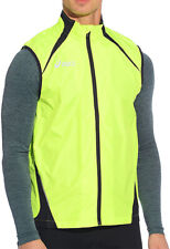 Asics Hi-Viz Mens Running Gilet Yellow Lighweight Reflective Windproof Run Vest