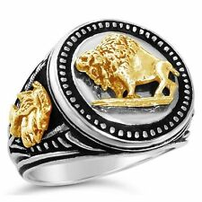 10 Karat Gold American Buffalo Mens silver Coin ring