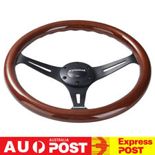 14'' Classic Wooden Steering Wheel 350mm Wood Grain Trim Chrome Spoke Universal