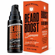 Wild Willies BEARD BOOST SERUM for FULLER THICKER HEALTHIER LOOK Biotin Caffeine