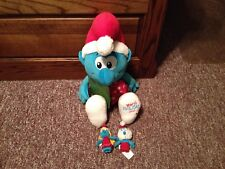 "2010 Macy's The Smurfs 21"" Plush Holiday Christmas Smurf & Finger Puppets"