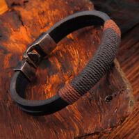 1Pc Mens Surfer Vintage Hemp Wrap Leather Wristband Bracelet Cuff Black Brown