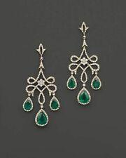 Emerald & Diamond 14k YellowGold Over Chandelier Dangle Earrings Wedding Jewelry