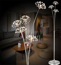 Crystal Dandelion LED Modern Living Room Floor Lamp Chrome Bedroom Landing Light