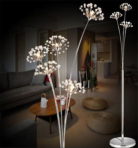 Dandelion Floor Lamp LED Lights SilverChrome DIY Firework Crystal Lamps G4 Bulb