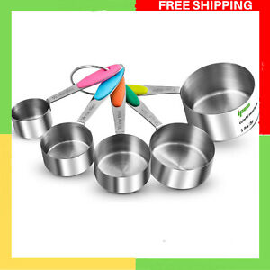 Stainless Steel Set of 5 American Kitchen Cooking Baking Measuring Cups Handle