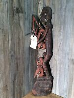 Vintage Indonesian Tribal Carving Wood Warrior Man Large Very Primitive  A97