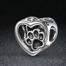 2Pcs Heart 925 Sterling Silver Beads Cute Dog Foot Print Charms Pendants
