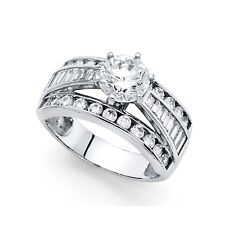 Round Cz Engagement Ring 14k White Gold Anniversary Cz Wide Band Round Baguette
