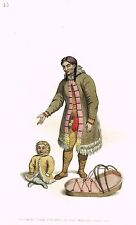"""Dadley's Russian Costume - """"TCHUPCHKI WOMAN"""" - Hand-Colored Lithograph - 1803"""