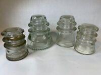 Lot of 4 Hemingray Glass Insulator No. 42 & 16 & 10 Clear  A665