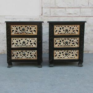 MADE TO ORDER Pair of Indian design carved lamp table bedside table rustic